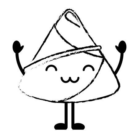 행복 쌀 만두 만화 벡터 일러스트 스케치 스타일 디자인
