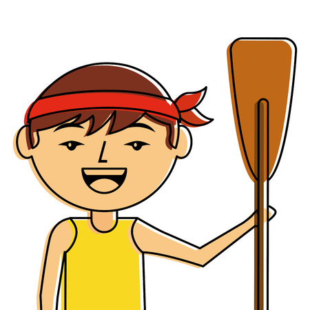 portrait cartoon man chinese with wooden oar vector illustration  イラスト・ベクター素材