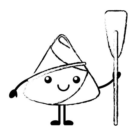 happy rice dumpling holding wooden oar vector illustration sketch Ilustração