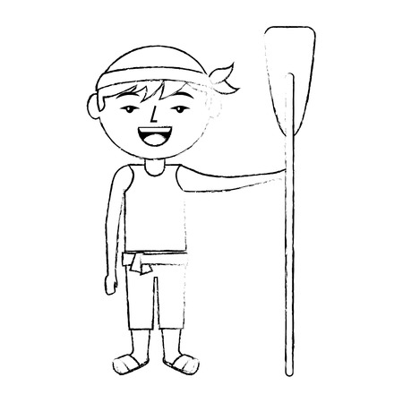 木製のオールベクトルイラストスケッチスタイルのデザインを保持して立っている面白い漫画の中国人男性  イラスト・ベクター素材