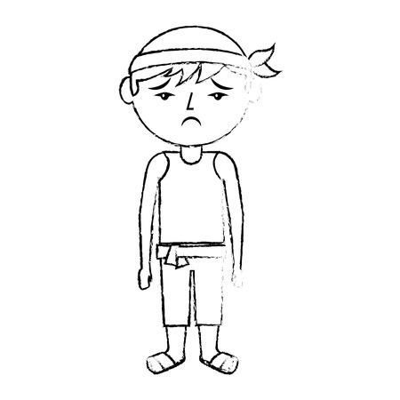 sad cartoon chinese man standing vector illustration sketch style design
