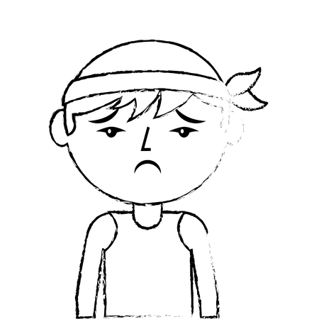portrait cartoon sad man chinese with head band vector illustration sketch style design Illustration