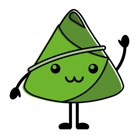 happy rice dumpling greeting cartoon vector illustration