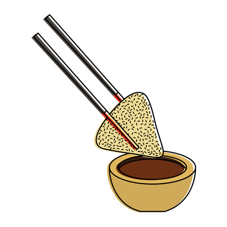 dumpling rice plate and soy sauce with sticks traditional vector illustration 向量圖像