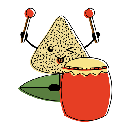 happy rice dumpling with drum and drumsticks cartoon vector illustration