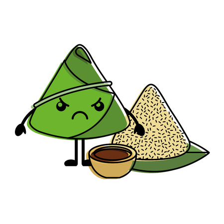 angry rice dumpling with sauce cartoon vector illustration
