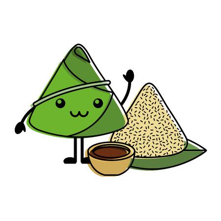 rice dumpling with sauce cartoon vector illustration Illustration