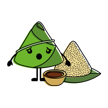 Surprised rice dumpling with sauce cartoon vector illustration