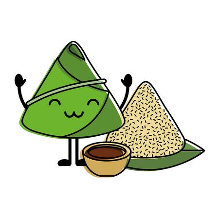 Rice dumpling with sauce cartoon vector illustration. Illustration