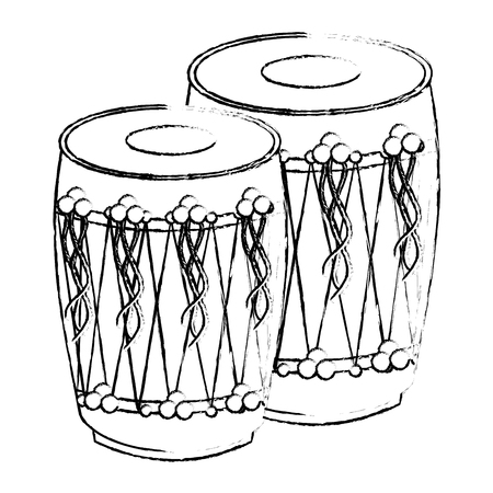 Pair of musical instruments. Drum, indian traditional vector illustration sketch style design.