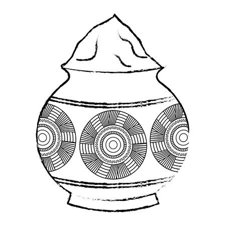 파우더 컬러 진흙 냄비와 만다라 벡터 일러스트 스케치 스타일 디자인. 일러스트