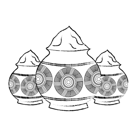 Three powder color mud pot and mandala vector illustration sketch style design.
