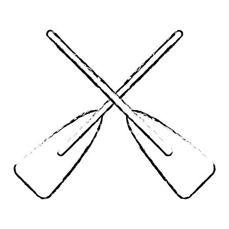 2つの木製の交差ボートoarsスポーツベクトルイラストスケッチスタイルのデザイン。