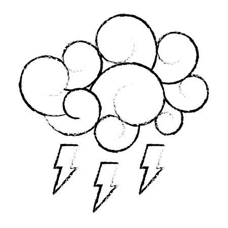 Cloud thunderbolt storm cartoon image vector illustration sketch style design