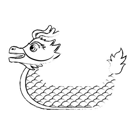 Dragon boat cartoon chinese vector illustration sketch style design