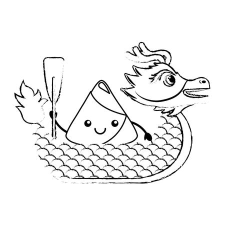 Dragon rice dumpling paddling festival chinese vector illustration sketch style design Vettoriali