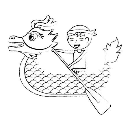 Dragon man rowing festival chinese traditional vector illustration sketch style design