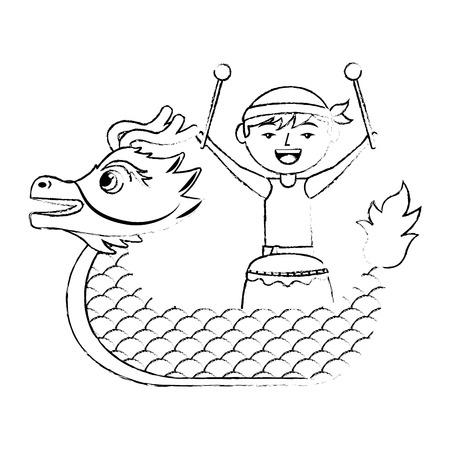 Hombre dragón con tambor festival chino vector ilustración boceto diseño de estilo Foto de archivo - 96527502