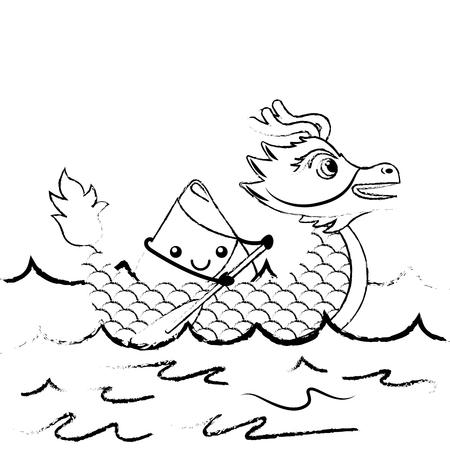 Dragon rice dumpling paddling festival chinese vector illustration sketch style design Illustration