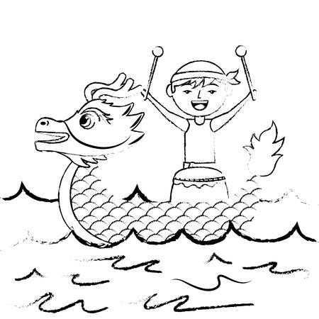 Hombre dragón con tambor mar festival chino vector ilustración boceto estilo diseño Foto de archivo - 96527509