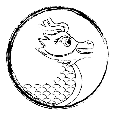 Drawing chinese dragon symbol vector illustration sketch style design Illustration