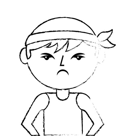 Portrait angry man chinese with head band vector illustration sketch style design