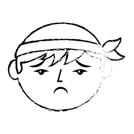 Portrait sad man chinese with head band vector illustration sketch style design