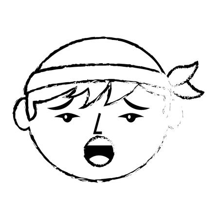 Portrait sad face chinese man vector illustration sketch style design