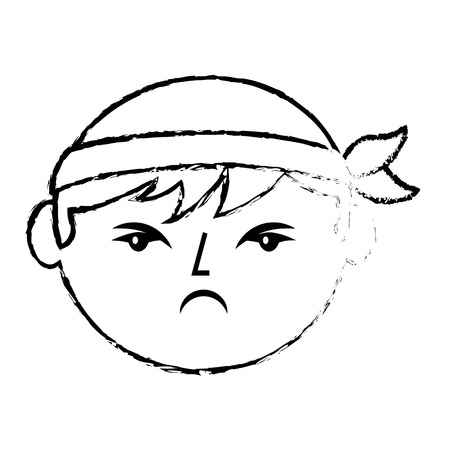 Portrait face angry chinese man vector illustration sketch style design