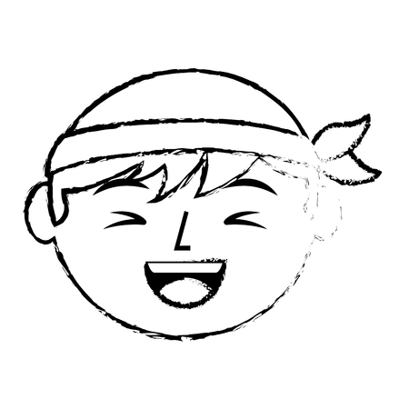 Portrait face laughing chinese man vector illustration sketch style design