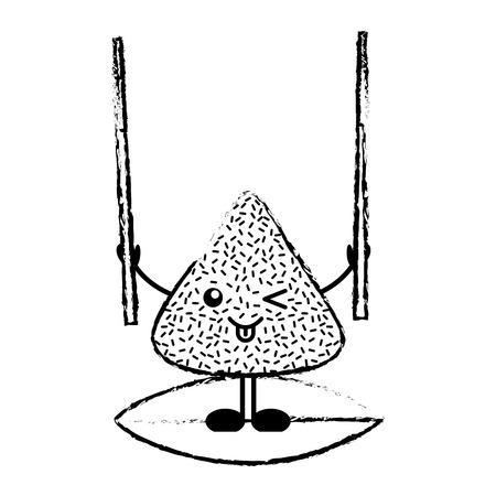 木製スティックベクターイラストスケッチを持つ幸せな米餃子