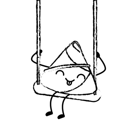 Happy rice dumpling in swing play vector illustration sketch