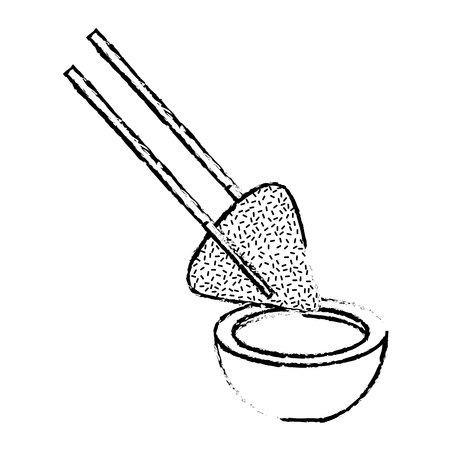Dumpling rice plate and soy sauce with sticks traditional vector illustration sketch Çizim