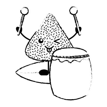 ドラムとドラムスティックベクトルイラストスケッチと幸せな米餃子
