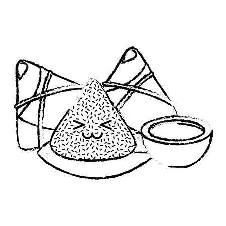 Gelukkige rijstbol en schets van de saus de vectorillustratie