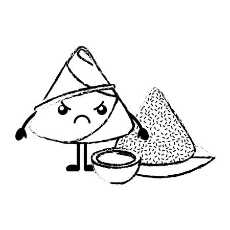 ソースベクトルイラストスケッチと怒っている米餃子