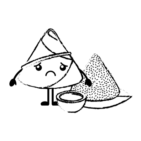 Sad rice dumpling with sauce vector illustration sketch style design