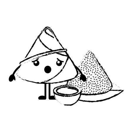 Surprised rice dumpling with sauce vector illustration sketch style design 向量圖像