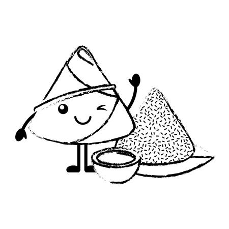 Boulette de riz adorable avec sauce illustration vectorielle style de conception de croquis Banque d'images - 96429998