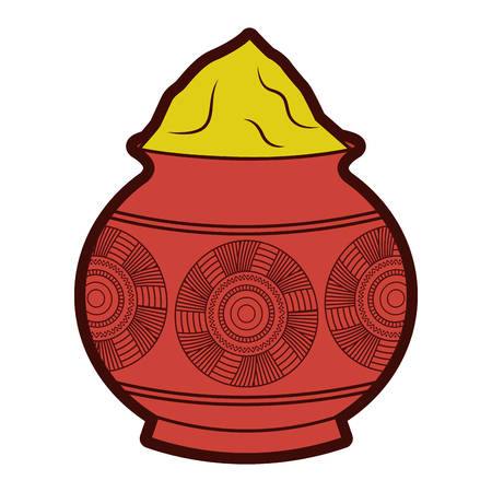 Powder mud pot and mandala vector illustration Illustration
