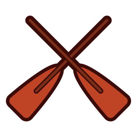 two wooden crossed boat oars sport vector illustration Archivio Fotografico - 96375593