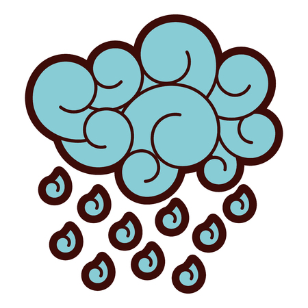 blue cloud rain drops atmosphere cartoon image vector illustration  Ilustrace