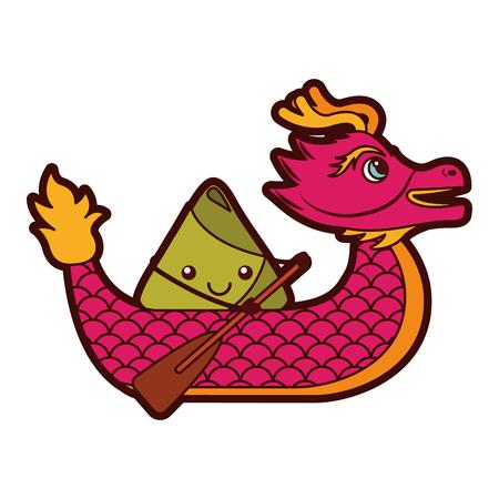 赤龍米餃子パドリングフェスティバル中国ベクトルイラスト
