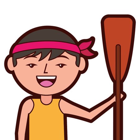 portrait cartoon man chinese with wooden oar vector illustration