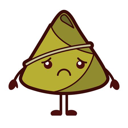 Adorable sad rice dumpling vector illustration Illustration