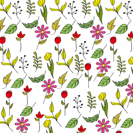 Spring background flower leaves branch decoration vector illustration Çizim