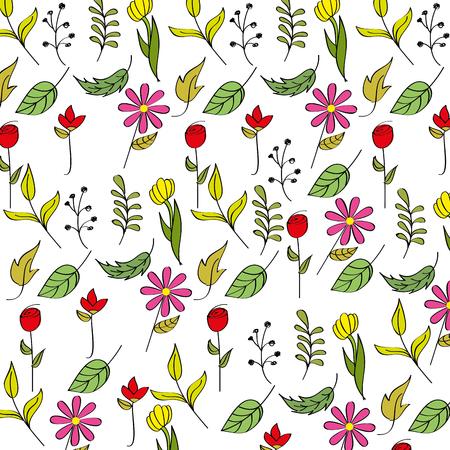Spring background flower leaves branch decoration vector illustration Illustration