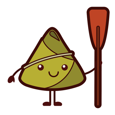 Adorable happy rice dumpling holding wooden oar vector illustration