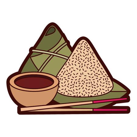 De reeks leuke Chinese sojasaus van de voedselrijst plakt vectorillustratie Stock Illustratie