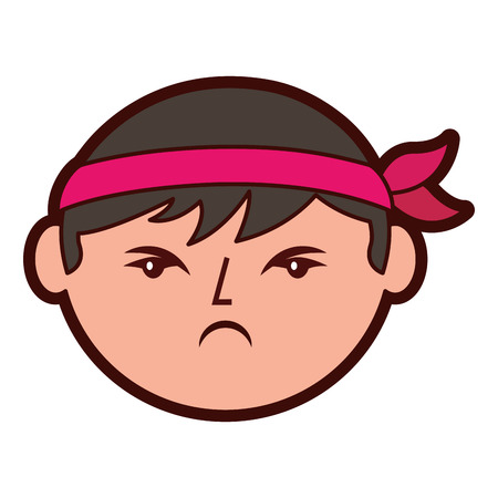 Adorable icon face angry chinese man vector illustration